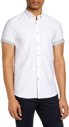 Ted Baker Handeez Slim Fit Stripe Short Sleeve Button-Up Shirt