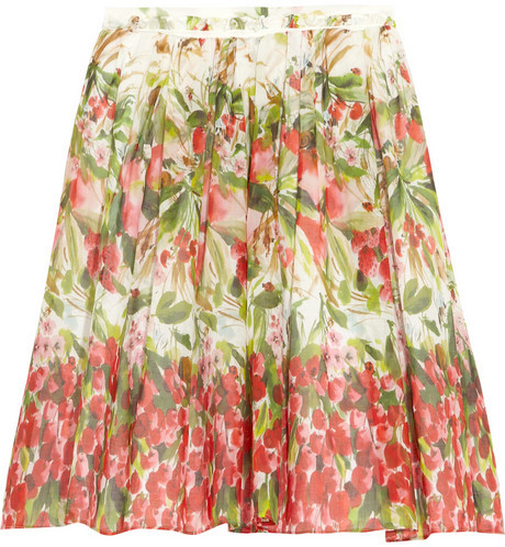 RED Valentino Floral-print cotton-muslin skirt