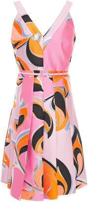 Emilio Pucci Pleated Metallic Brocade Dress