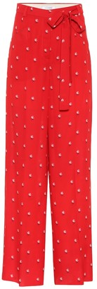 Valentino Floral-printed silk crepe trousers