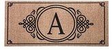 Evergreen Sassafras Decorative Insert Mat, 10x22 Inches, Burlap Monogram A