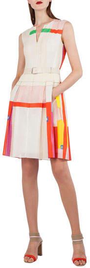 Akris Sleeveless Cotton Voile Mural-Print Pleated Skirt Short Dress