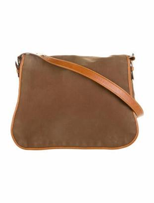Prada Leather-Trimmed Canvas Messenger Bag Brown