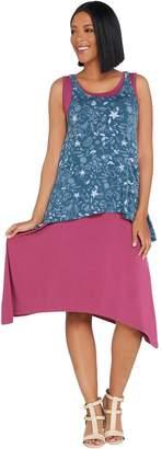 Logo By Lori Goldstein LOGO by Lori Goldstein Printed Knit Tank w/ Solid Dress Twin Set