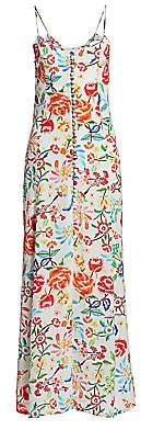 All Things Mochi Women's Melissa Floral Silk Maxi Dress