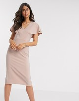 Asos Design DESIGN angel sleeve midi pencil dress in dusky pink
