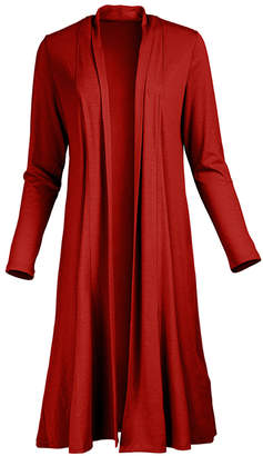 Lily Women's Open Cardigans RED - Red Drape-Front Open Duster - Women & Plus