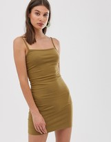Weekday jersey bodycon dress in khaki green