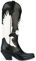 A.F.Vandevorst dove pattern boots - women - Calf Leather/Leather - 38.5