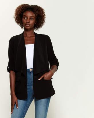 Lush Black Quarter Buttoned Sleeve Blazer