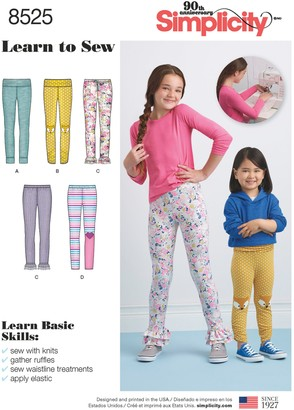 Simplicity Children's Learn To Sew Leggings Sewing Pattern, 8525