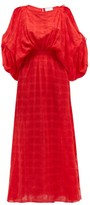 Binetti Love Cherry Oh Checked Crepe Maxi Dress - Womens - Red