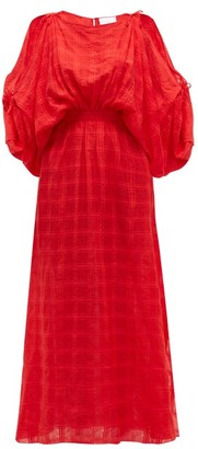 Binetti Love Cherry Oh Checked Crepe Maxi Dress - Womens - Red