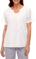 Alfred Dunner Garden Party Short Sleeve Lace T-Shirt