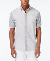 Sean John Men's Pieced Stripe Big & Tall Short-Sleeve Hybrid Shirt