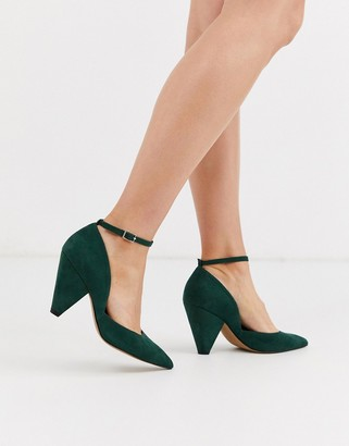 Asos Design DESIGN Speak Out pointed mid-heels in forest green