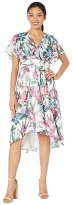 Maggy London Floral Ruffle Sleeve Midi (Cream/Berry) Women's Dress