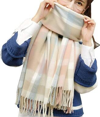 Dydtop Women Winter Scarf Tartan Scarf Long Soft Scarves Shawl Stole Wool Spinning Tassel Tartan Check Scarves Wraps Shawl Winter Warm Scarf