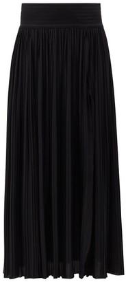 Balmain Pleated Jersey Maxi Skirt - Black