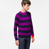 Paul Smith Men's Purple And Navy Stripe Cashmere Raglan-Sleeve Sweater