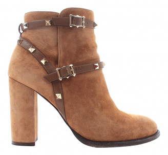 Valentino Rockstud Brown Suede Ankle boots