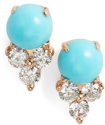 Ef Collection Diamond Trio Stone Stud Earrings