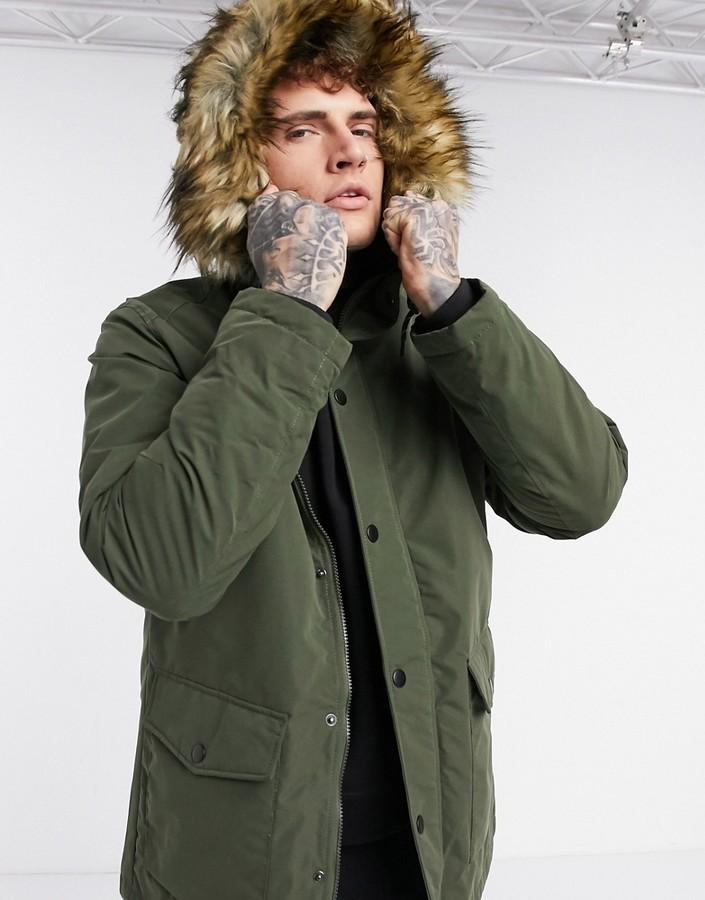 Jack /& Jones Originals Parka Jacket Jorlatte Mens Classic Winter Parker Coat