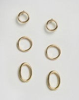 Asos Pack of 3 Mixed Open Circle Stud Earrings