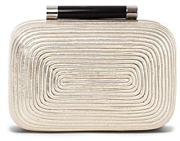 Diane von Furstenberg Tonda Coil Metallic Small Clutch In Light Gold