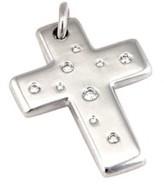 Tiffany & Co. 18K White Gold Diamond Cross Pendant