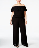 INC International Concepts Plus Size Off-The-Shoulder Jumpsuit, Only at Macy's