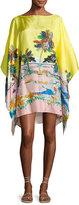Emilio Pucci Bermuda Tropical-Print Silk Caftan Coverup, Giallo/Rosa