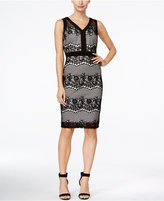 Sangria Sleeveless Lace V-Neck Sheath Dress
