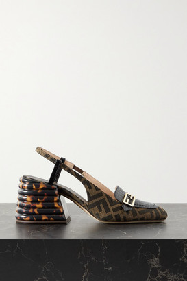 Fendi Logo-embellished Croc-effect Leather And Canvas-jacquard Slingback Pumps - Brown