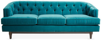 One Kings Lane Emma Tufted Sofa - Peacock Velvet - frame, espresso; upholstery, peacock