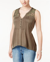American Rag Crochet-Trim High-Low Top, Only at Macy's