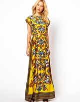 MANGO Scarf Print Belted Maxi Dress