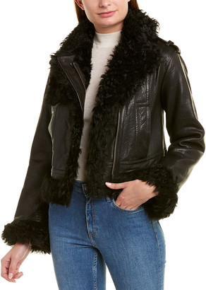 Vince Leather & Shearling Moto Jacket