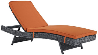 Modway Outdoor Summon Outdoor Patio Wicker Rattan Sunbrella Chaise
