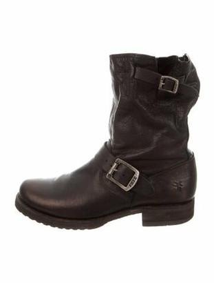 Frye Brett Low Leather Moto Boots Black