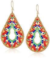 Miguel Ases Large Ankara Print Intricate Swarovski Teardrop Earrings