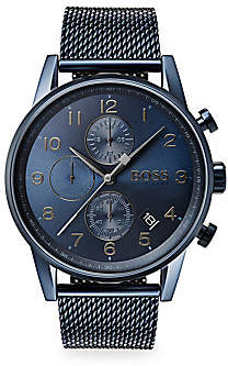 HUGO BOSS Men's Navigator Ionic-Plated Dark Blue Steel Chronograph Bracelet Watch