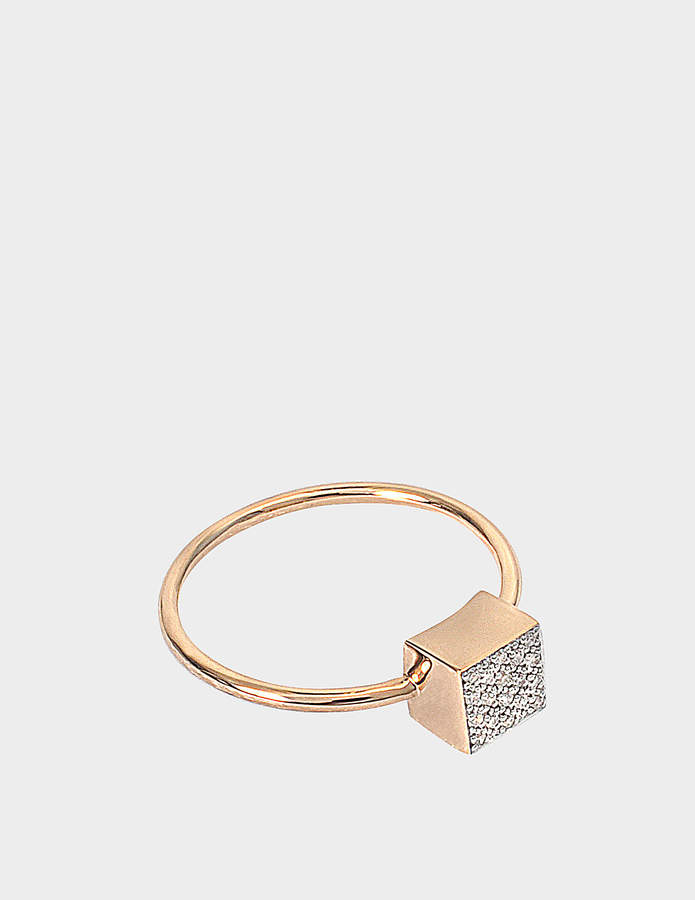 ginette_ny Baby Diamond Ever Square 18-karat rose gold ring