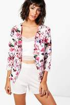 boohoo Kate Pastel Floral Print Tailored Blazer cream