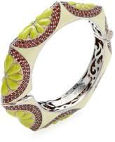 Rina Limor Fine Jewelry Women's Silver, Garnet & Green Enamel Floral Bangle Bracelet