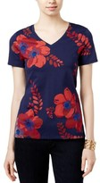 Tommy Hilfiger Womens Selena Floral Print Short Sleeves Blouse