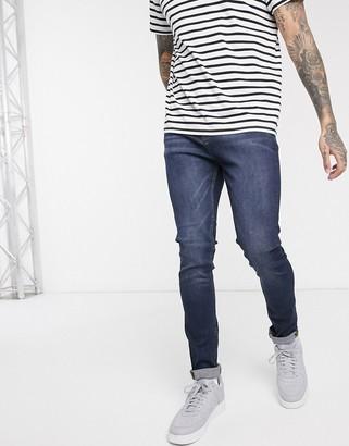 LDN DNM super skinny fit jeans in dark blue wash