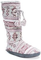 Muk Luks Tall Grace Fairisle Pattern Tie Faux Fur Lined Slipper