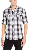 Southpole Men's Long Woven with Dark Plaid Patterns and Roll up Sleeves