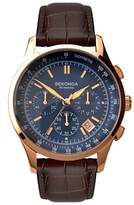 Sekonda 1157.27 Chronograph Leather Strap Watch, Brown/blue